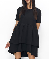 Black cotton blend tiered mini dress