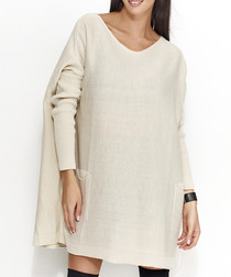 Beige slouchy knitted jumper