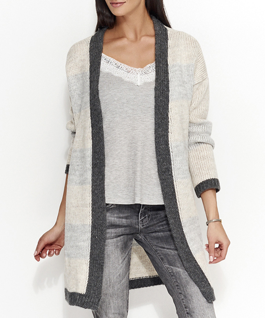 Beige & grey mohair blend cardigan Sale - numinou