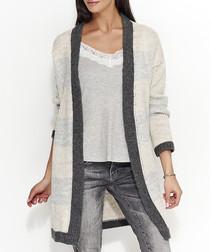 Beige & grey mohair blend cardigan