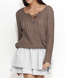Coffee tie front chunky knit jumper