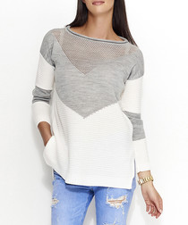 Ecru & grey chevron knit jumper