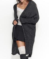 Black melange chunky knit cardigan
