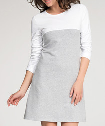 Grey & white cotton blend block dress