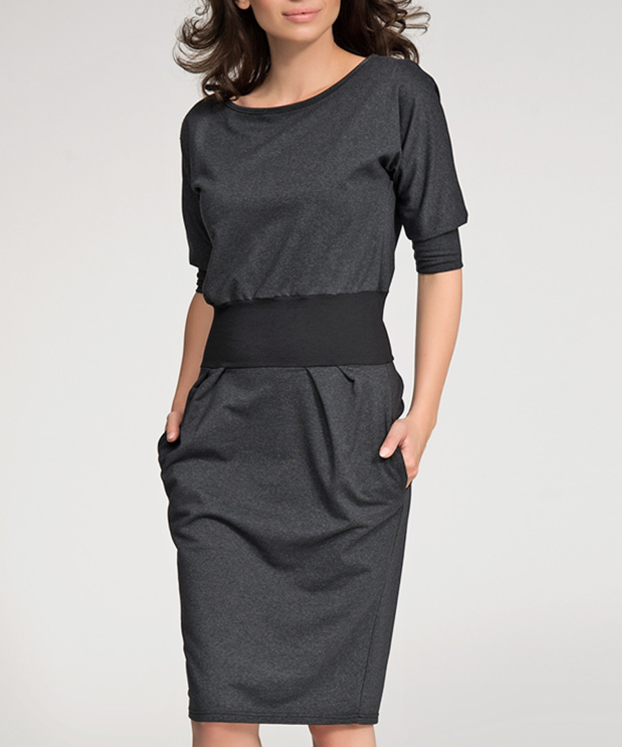 Graphite melange cotton blend band dress Sale - numinou