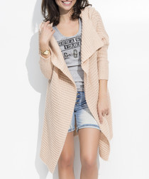 Salmon wool blend chunky knit cardigan