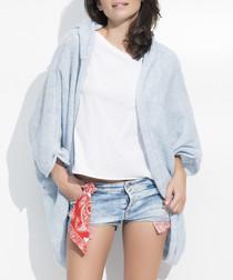 Blue mohair & wool blend hooded cardigan