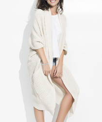 Beige chunky knit long line cardigan