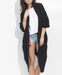 Black chunky knit long line cardigan