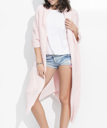 Pink chunky knit long line cardigan