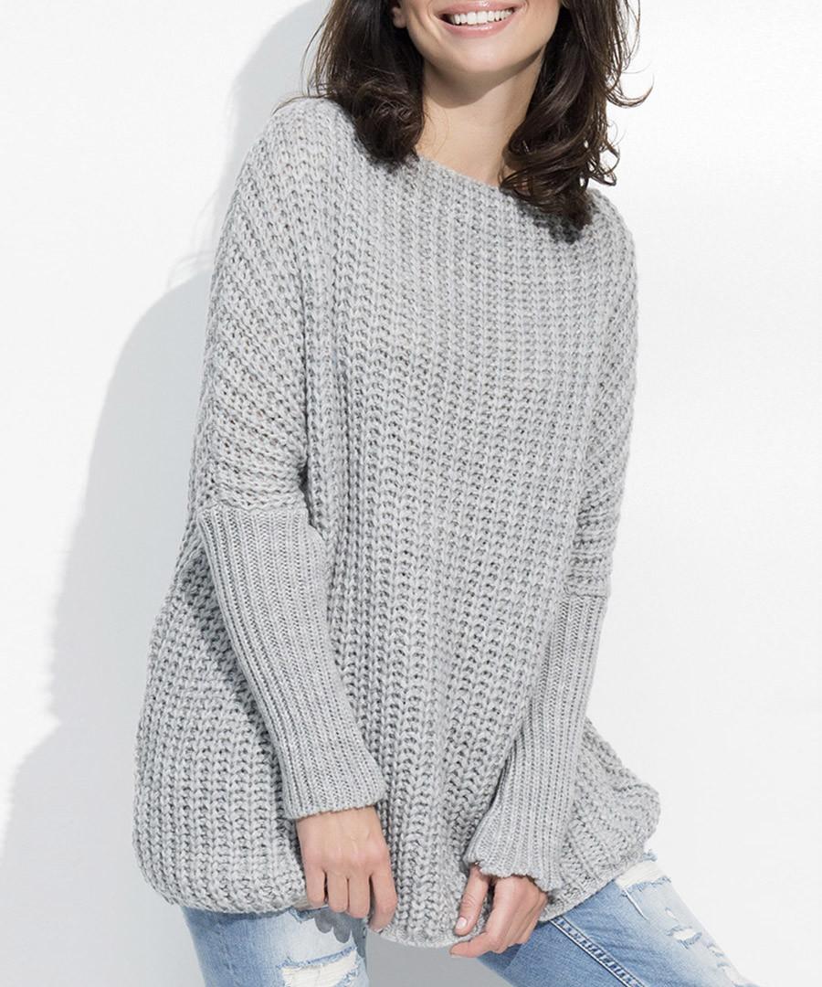 Grey wool blend knit & rib jumper Sale - numinou