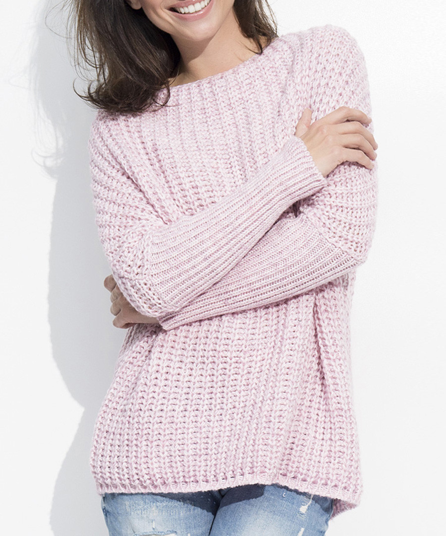 Pink wool blend knit & rib jumper Sale - numinou