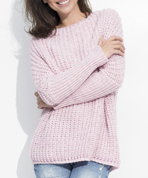 Pink wool blend knit & rib jumper
