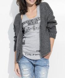 Grey mohair & wool blend open cardigan