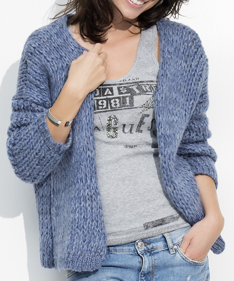 Denim mohair & wool blend open cardigan Sale - numinou