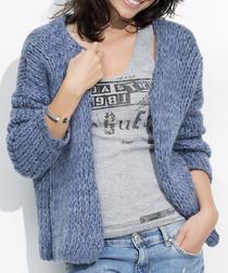 Denim mohair & wool blend open cardigan