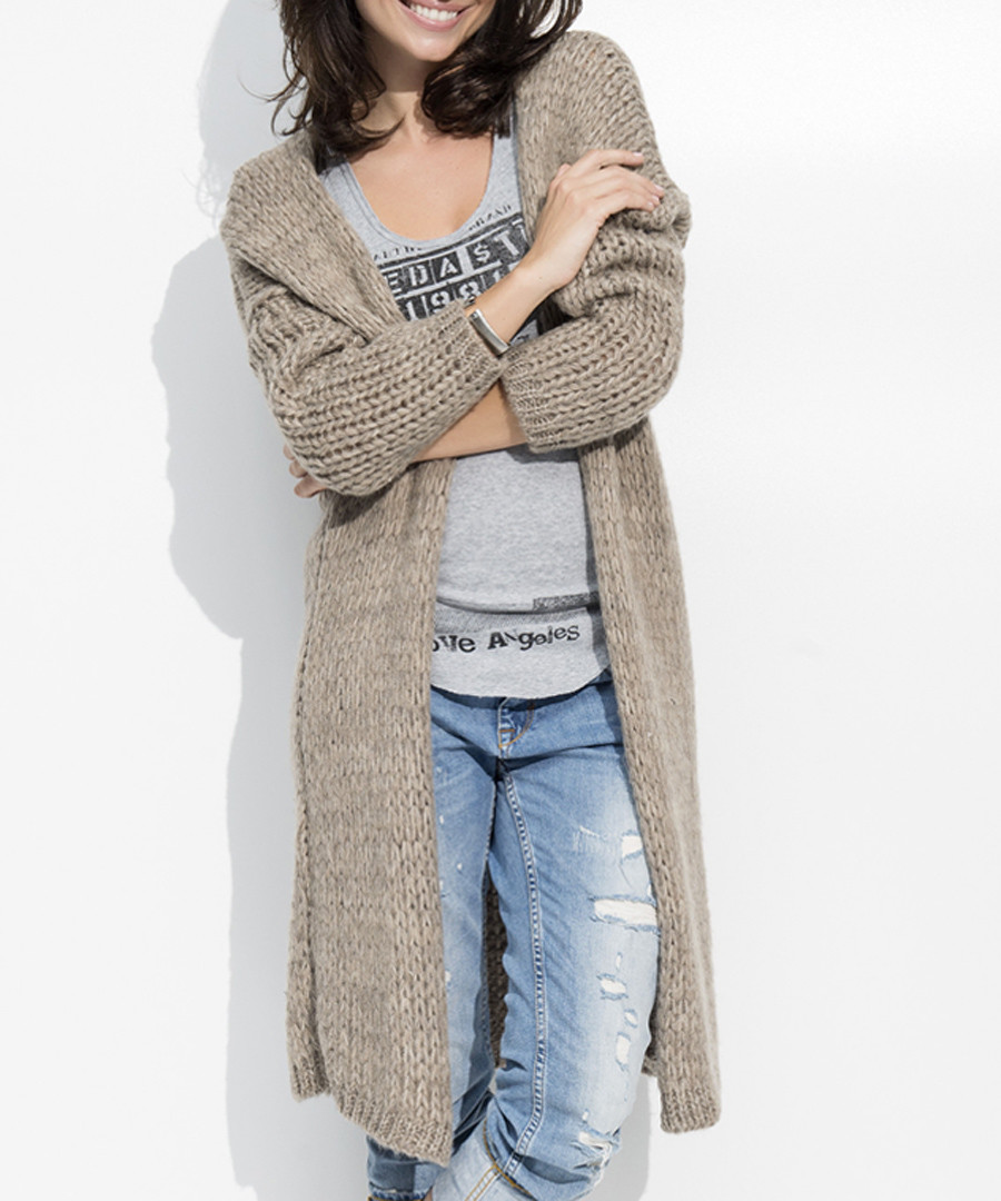 Coffee mohair blend long line cardigan Sale - numinou