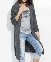 Graphite mohair blend long line cardigan