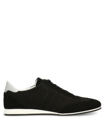 Black & white suede stitch sneakers