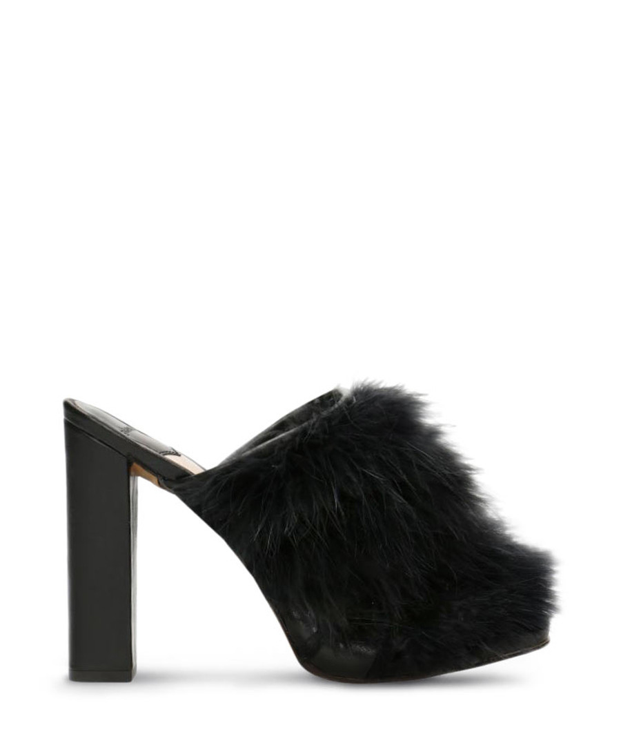 Black leather furry heeled mules Sale - Gino Rossi