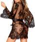 Flirty black floral lace négligée Sale - Treats on trend Sale