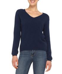 Blue cashmere blend V-neck jumper