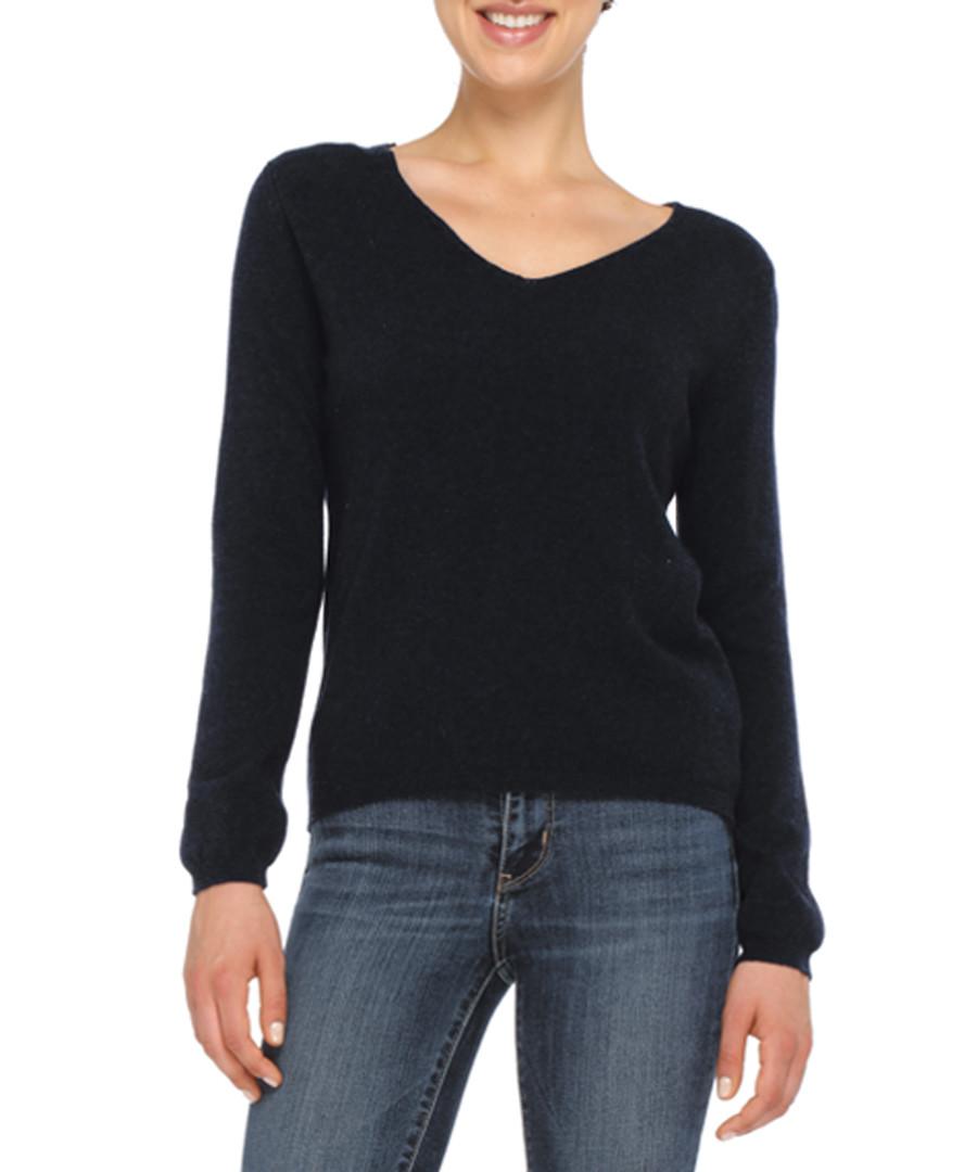 Black cashmere blend V-neck jumper Sale - love cashmere