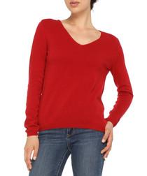 Red cashmere blend V-neck jumper