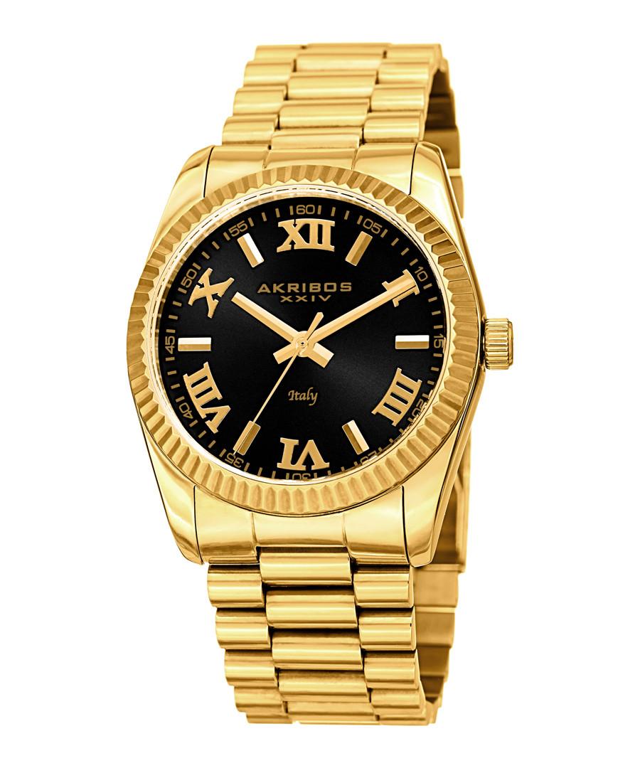 Gold-tone steel Roman numeral watch Sale - akribos XXIV