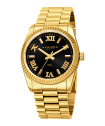 Gold-tone steel Roman numeral watch
