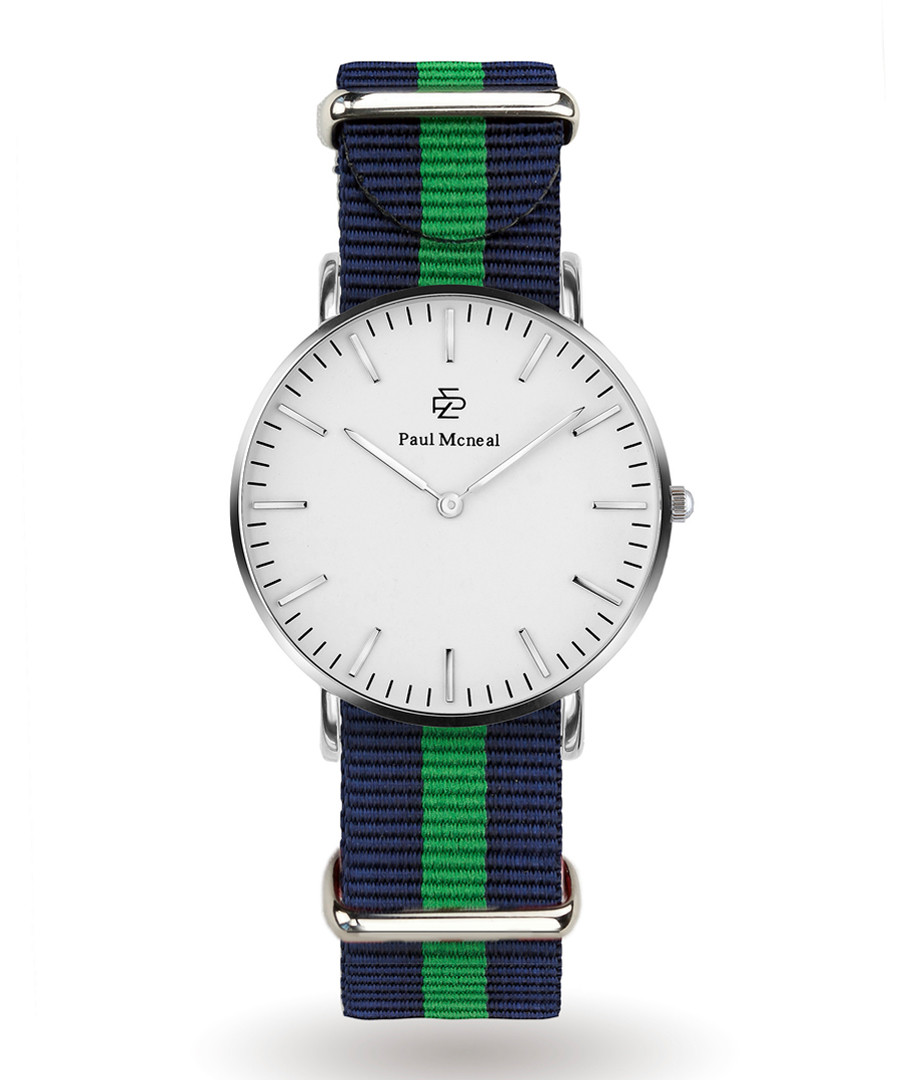 Silver-tone & navy striped strap watch  Sale - Paul McNeal