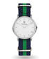 Silver-tone & navy striped strap watch  Sale - Paul McNeal Sale