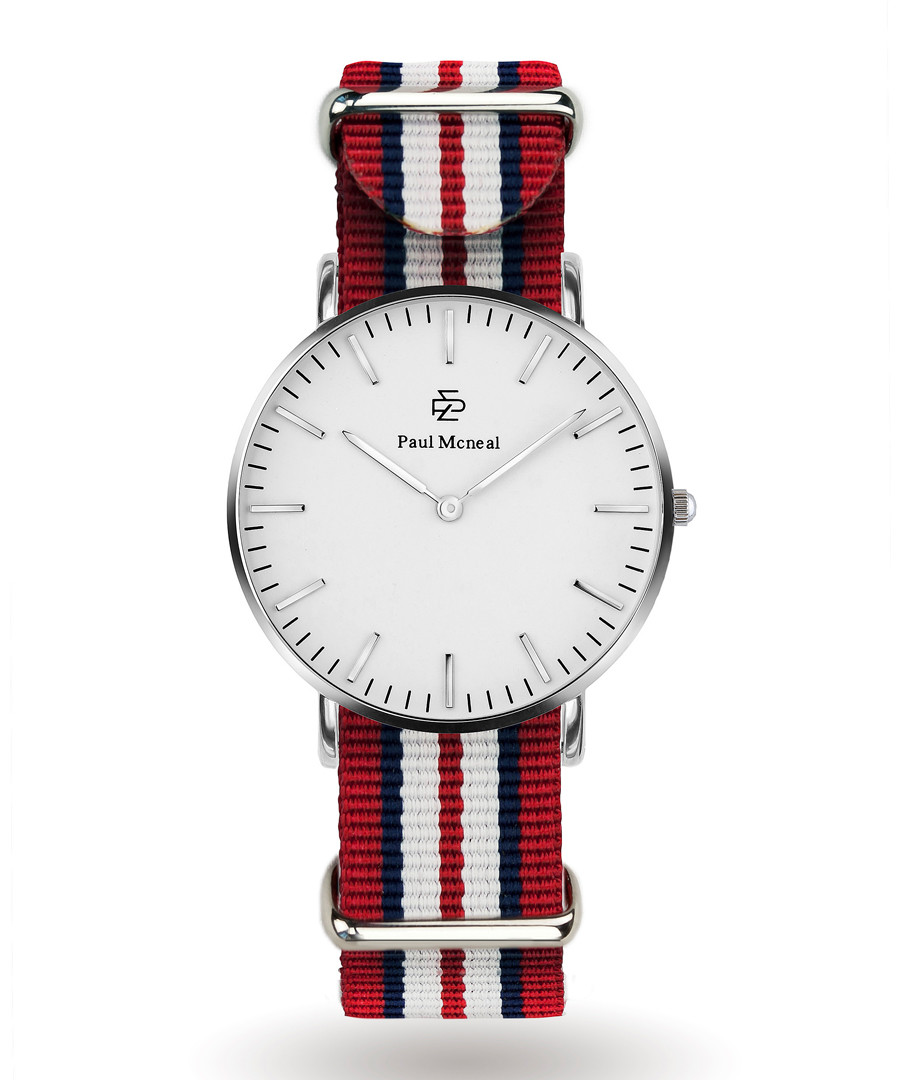 Silver-tone & red striped strap watch  Sale - Paul McNeal