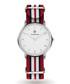 Silver-tone & red striped strap watch  Sale - Paul McNeal Sale