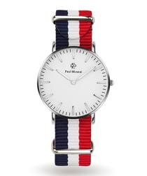 Silver-tone & navy striped strap watch
