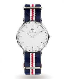 Silver-tone & navy striped strap watch