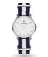 Silver-tone & navy striped strap watch  Sale - Paul McNeal Sale