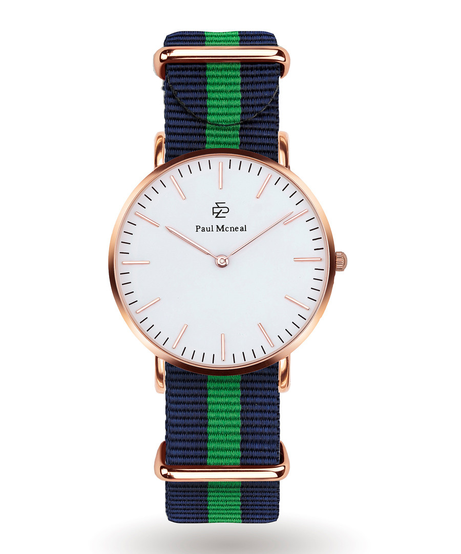 Gold-tone & navy striped strap watch  Sale - Paul McNeal