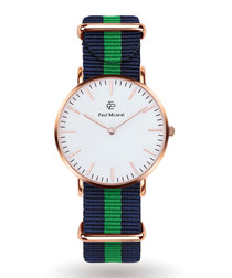 Gold-tone & navy striped strap watch