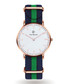 Gold-tone & navy striped strap watch  Sale - Paul McNeal Sale