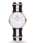Gold-tone & navy striped strap watch  Sale - Paul McNeal Sale