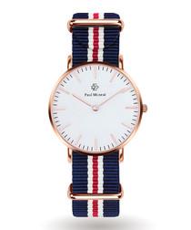 Gold-tone & navy striped strap watch