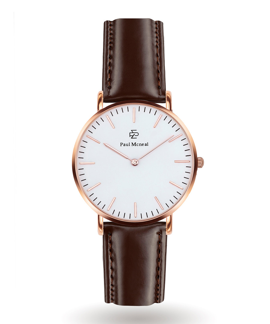 Rose gold-tone & brown leather watch Sale - Paul McNeal
