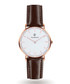 Rose gold-tone & brown leather watch Sale - Paul McNeal Sale