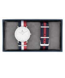 2pc Silver-tone & red striped watch set