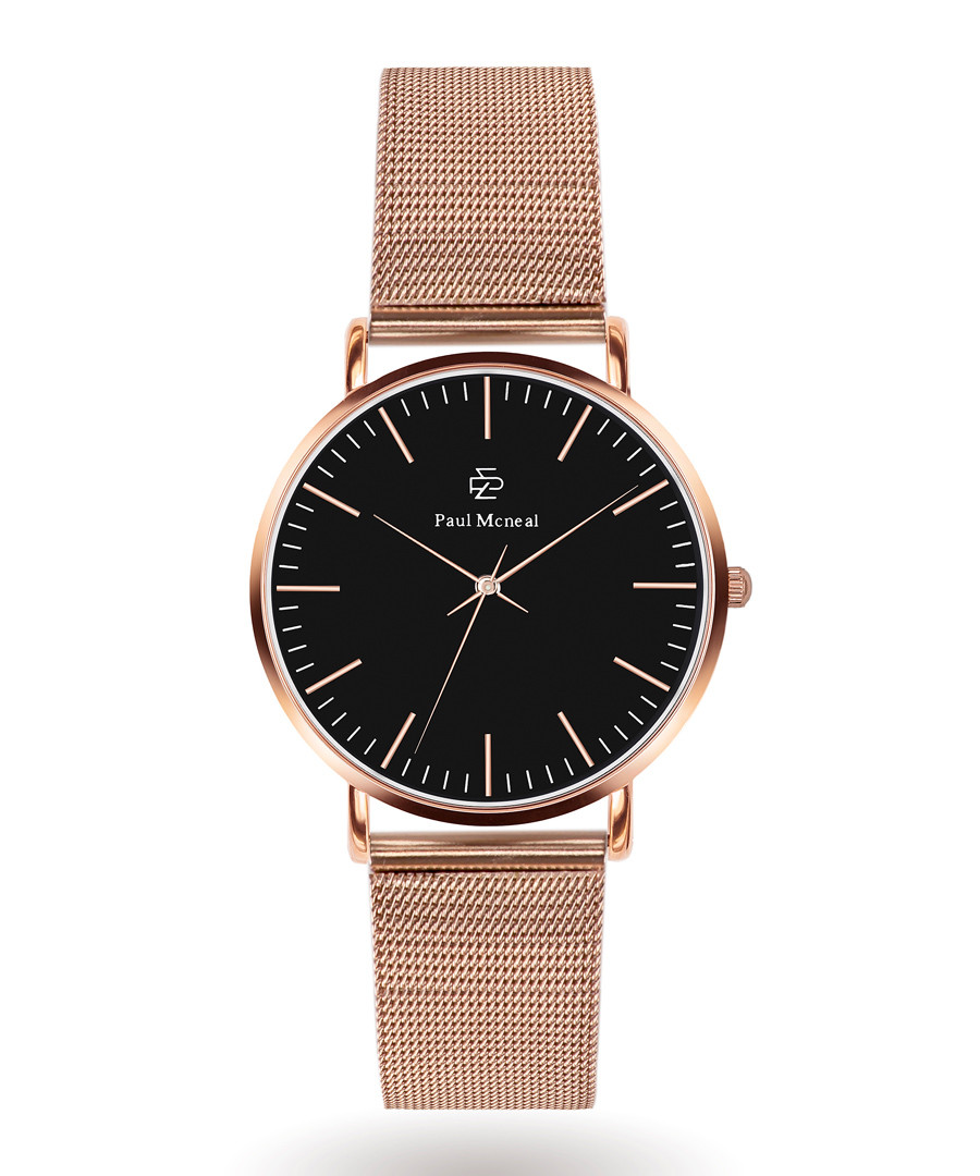 Rose gold-tone steel mesh strap watch Sale - Paul McNeal