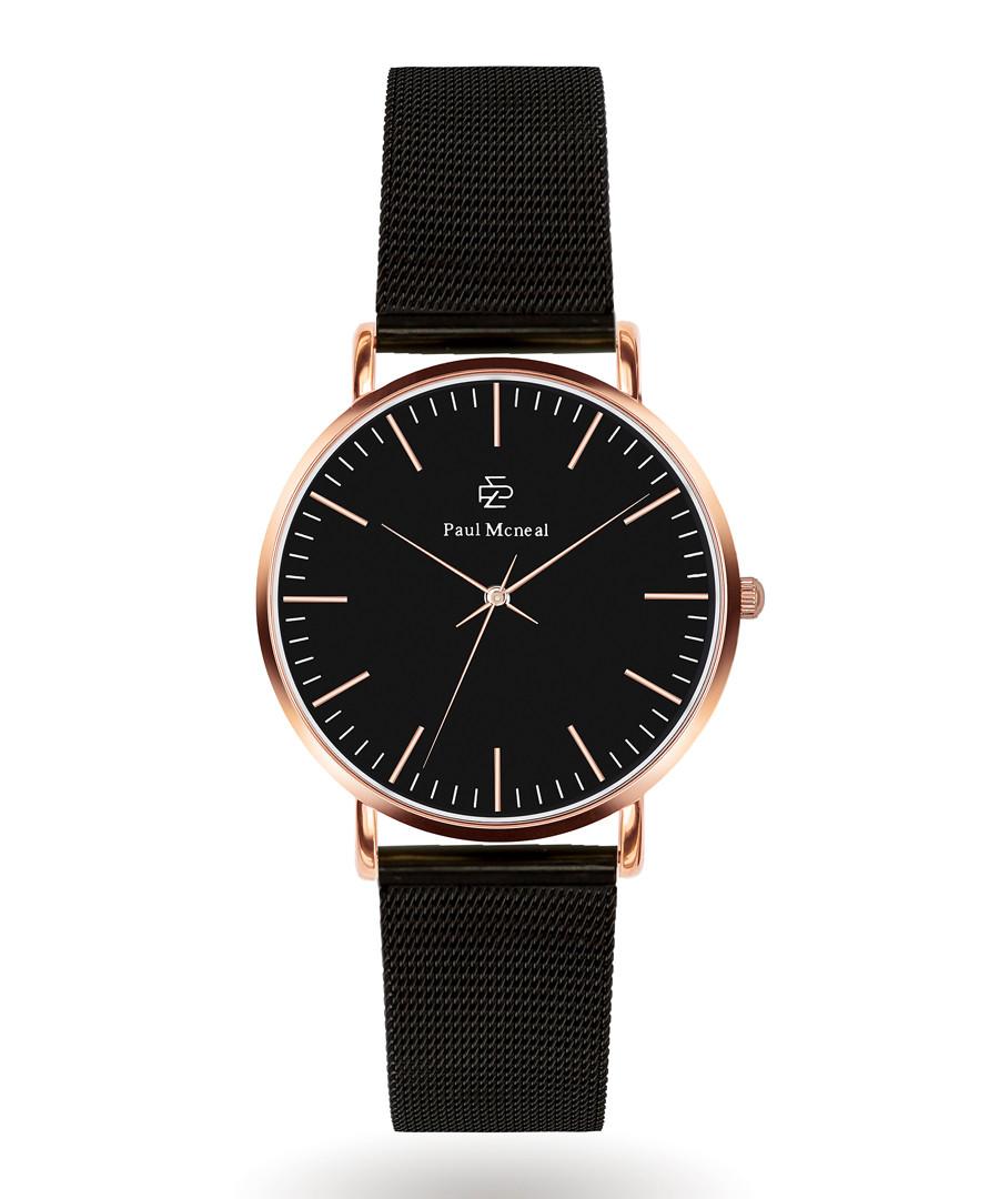Rose gold-tone & black steel watch Sale - Paul McNeal