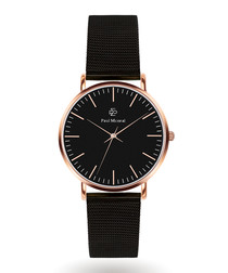 Rose gold-tone & black steel watch