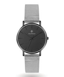 Silver-tone steel mesh strap watch