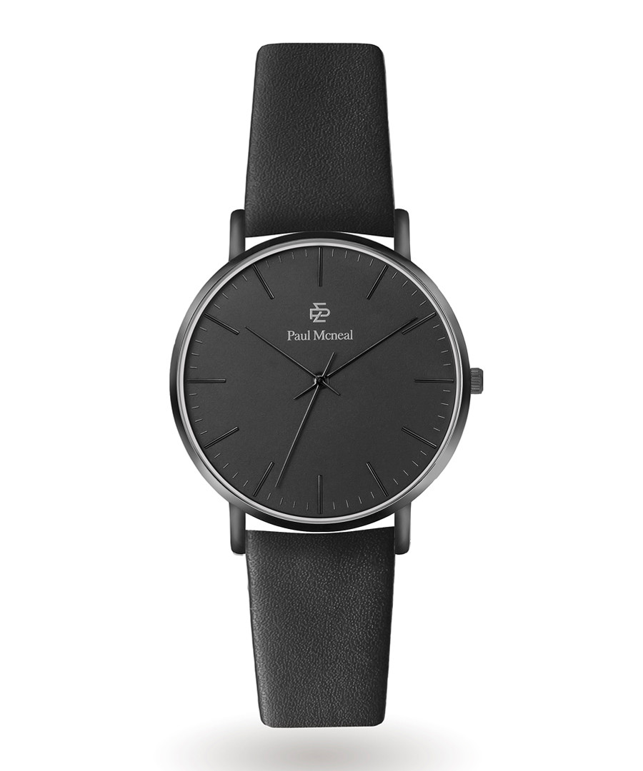 Matte black numberless leather watch Sale - Paul McNeal